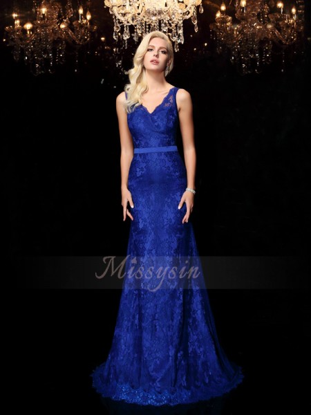 Sheath/Column Sleeveless Straps Sweep/Brush Train Royal Blue Dresses