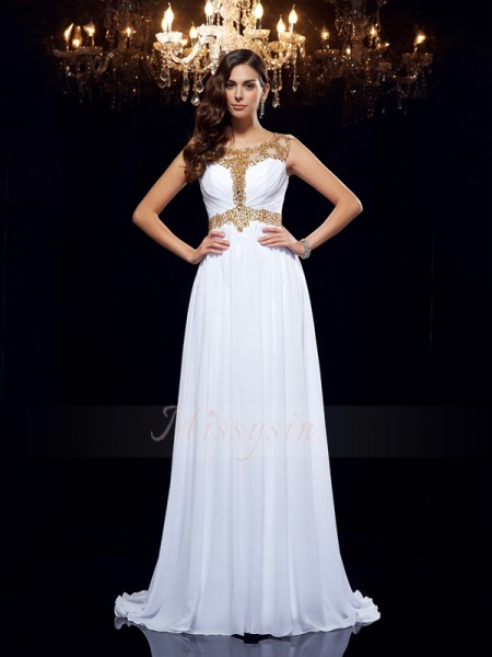 A-Line/Princess Sleeveless Scoop Sweep/Brush Train White Dresses
