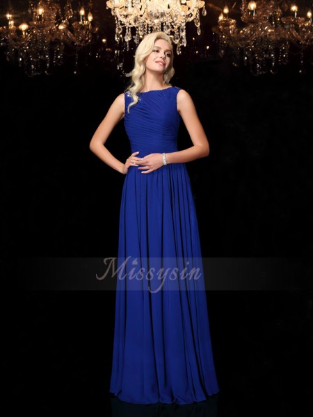 A-Line/Princess Sleeveless Bateau Long Royal Blue Dresses