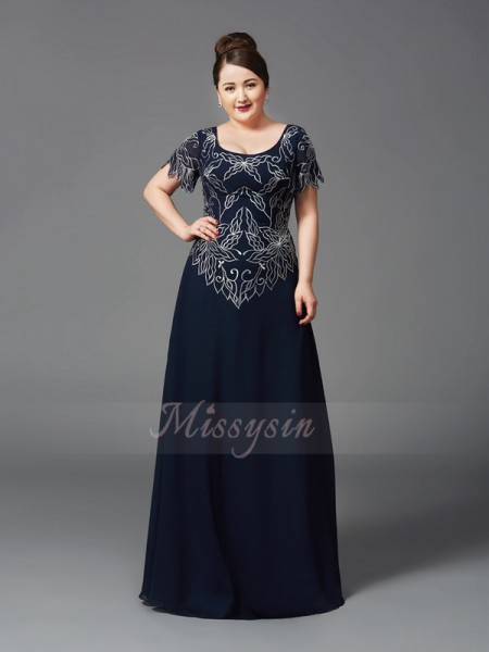A-Line/Princess Short Sleeves Square Long Dark Navy Mother of the Bride Dresses
