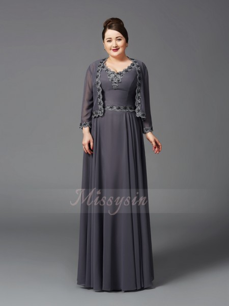 A-Line/Princess Sleeveless Straps Long Grey Mother of the Bride Dresses
