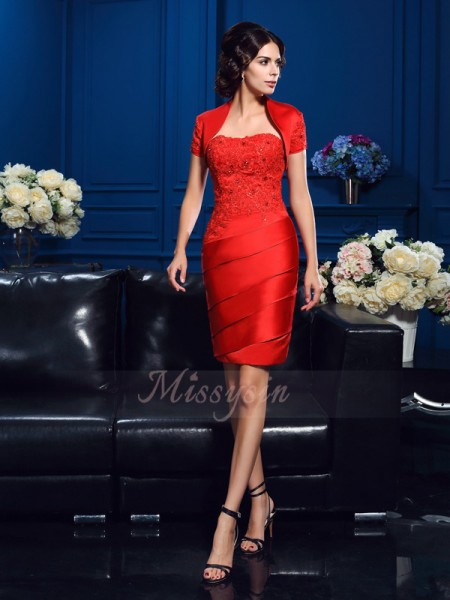 Sheath/Column Sleeveless Sweetheart Short Red Mother of the Bride Dresses