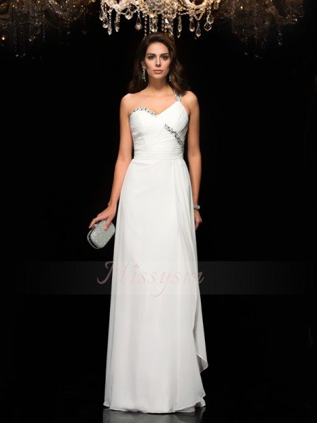 A-Line/Princess Sleeveless One-Shoulder Long White Dresses