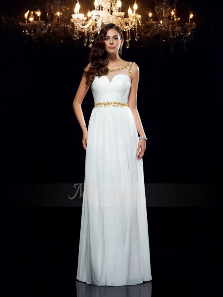 A-Line/Princess Sleeveless Sheer Neck Long White Dresses
