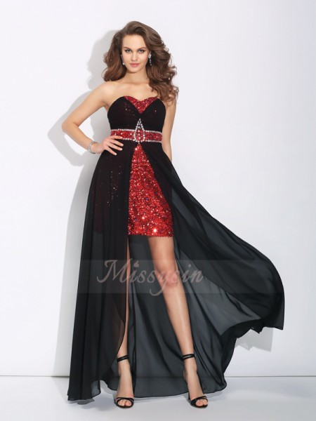 A-Line/Princess Sleeveless Sweetheart Asymmetrical Black Dresses