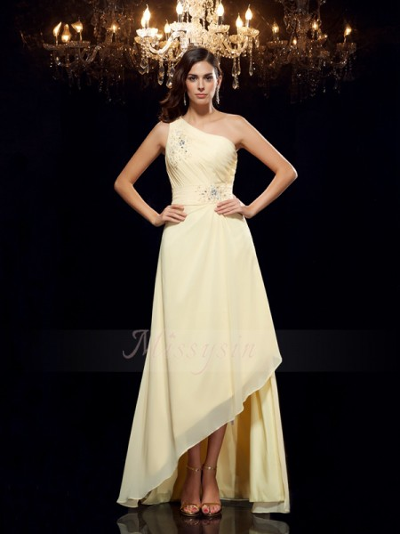A-Line/Princess Sleeveless One-Shoulder Asymmetrical Daffodil Dresses