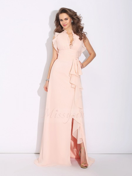 A-Line/Princess Sleeveless High Neck Sweep/Brush Train Pearl Pink Dresses