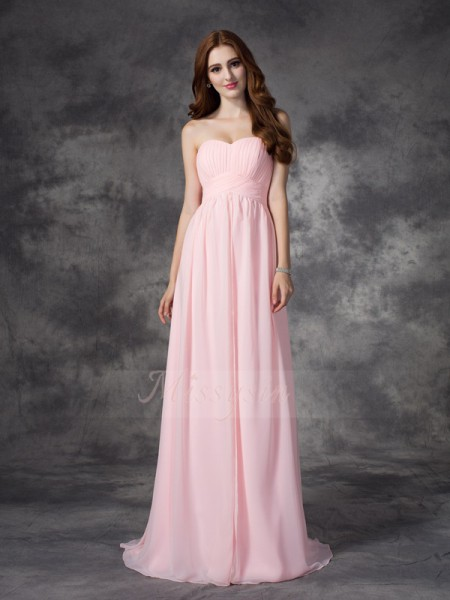 A-line/Princess Sleeveless Sweetheart Sweep/Brush Train Pink Dresses