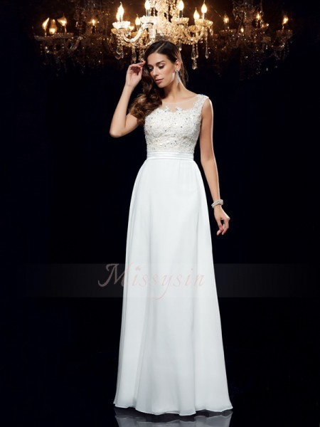 A-Line/Princess Sleeveless Scoop Long White Dresses