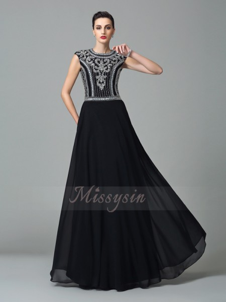 A-Line/Princess Short Sleeves Jewel Long Black Dresses