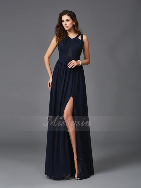 A-Line/Princess Sleeveless Straps Long Dark Navy Dresses