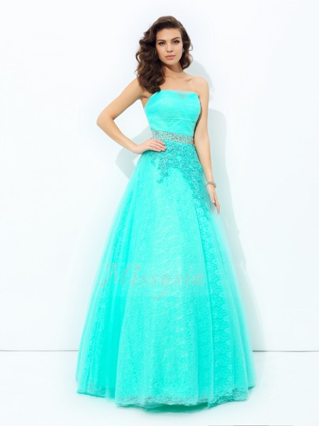 A-line/Princess Sleeveless Strapless Long Blue Dresses