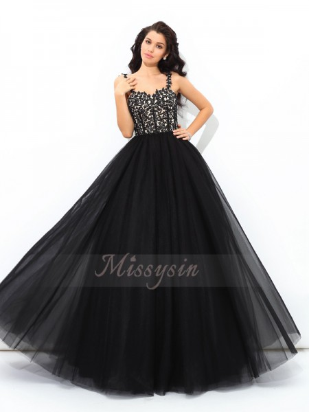 Ball Gown Sleeveless Straps Long Black Quinceanera Dresses