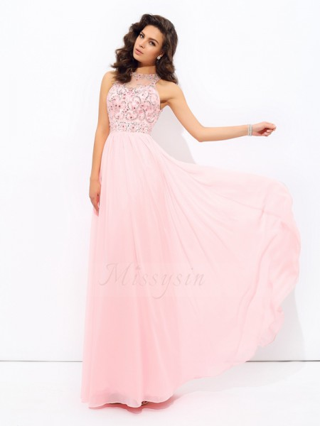 A-line/Princess Sleeveless Jewel Long Pink Dresses