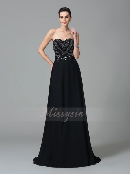 A-Line/Princess Sleeveless Sweetheart Sweep/Brush Train Black Dresses