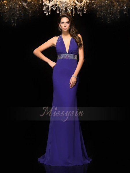 Trumpet/Mermaid Sleeveless V-neck Sweep/Brush Train Regency Dresses