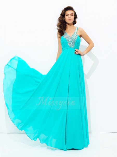A-line/Princess Sleeveless V-neck Long Blue Dresses
