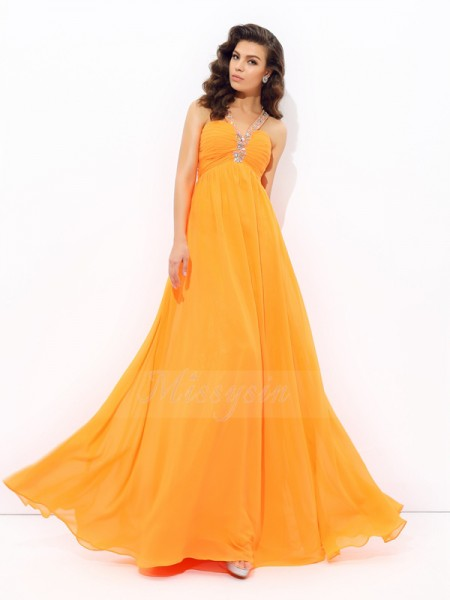 A-line/Princess Sleeveless V-neck Long Orange Dresses