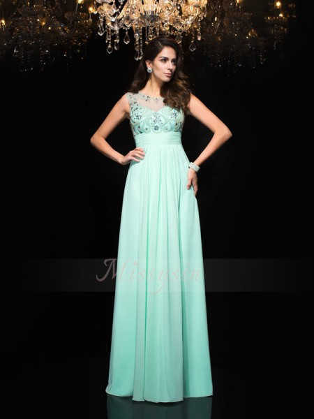 A-Line/Princess Sleeveless Sheer Neck Long Sage Dresses