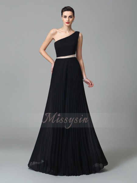 A-Line/Princess Sleeveless One-Shoulder Long Black Dresses