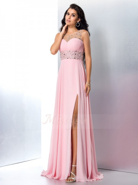A-Line/Princess Sleeveless Sheer Neck Sweep/Brush Train Pink Dresses
