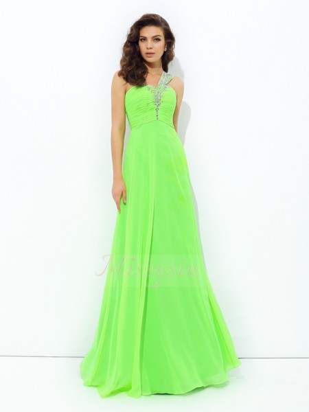 A-line/Princess Sleeveless One-Shoulder Long Green Dresses