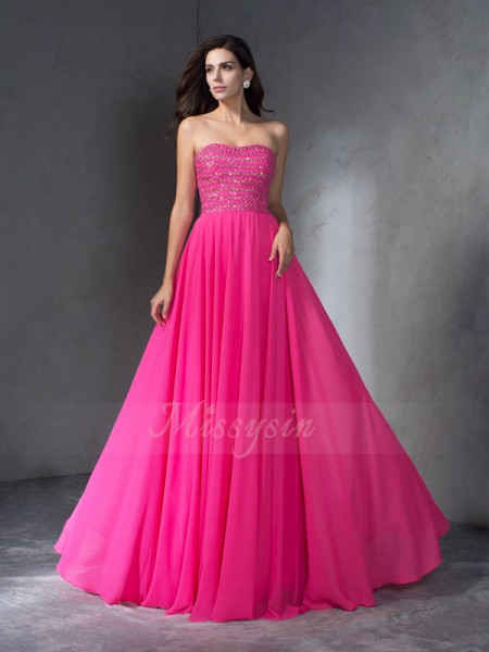 A-Line/Princess Sleeveless Sweetheart Sweep/Brush Train Watermelon Dresses