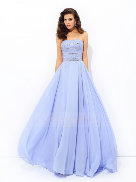 A-line/Princess Sleeveless Strapless Sweep/Brush Train Lavender Dresses