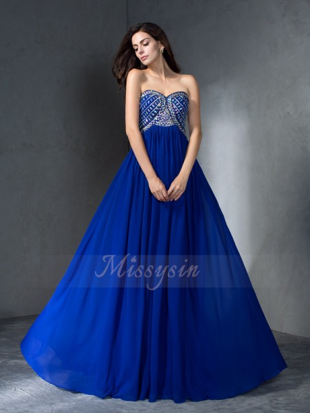 A-Line/Princess Sleeveless Sweetheart Sweep/Brush Train Royal Blue Dresses