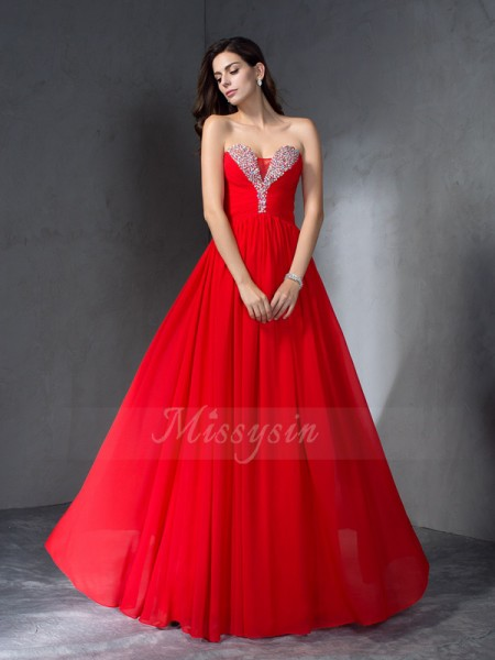 A-Line/Princess Sleeveless Sweetheart Long Red Dresses