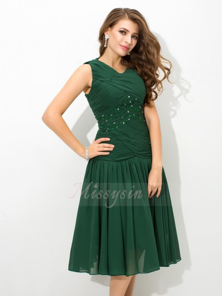 A-Line/Princess Sleeveless Scoop Short Dark Green Dresses
