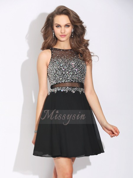 A-Line/Princess Sleeveless Jewel Short Black Dresses