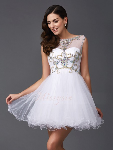 A-Line/Princess Sleeveless Scoop Short White Dresses