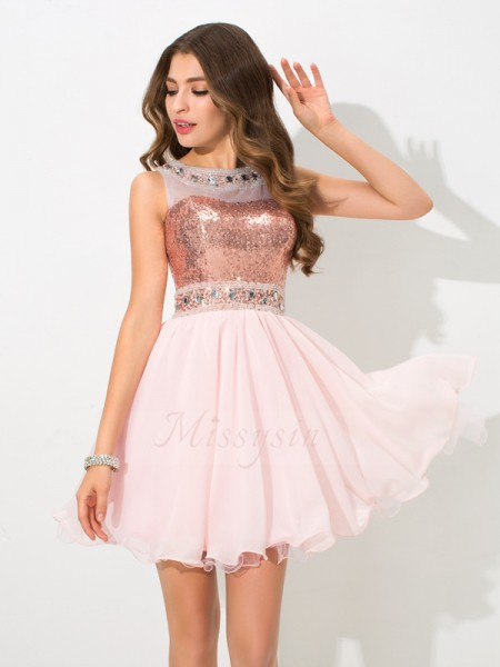 A-Line/Princess Sleeveless Sheer Neck Short Pink Dresses