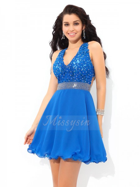 A-Line/Princess Sleeveless V-neck Short Royal Blue Dresses