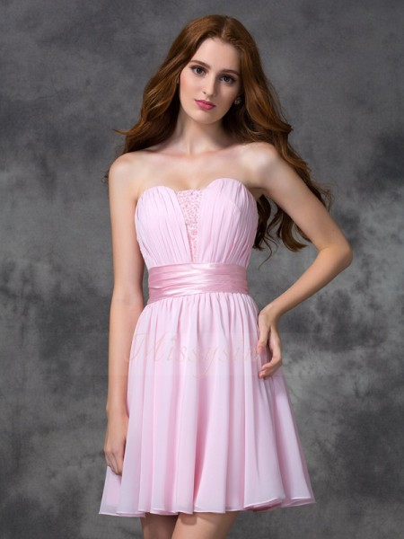 A-line/Princess Sleeveless Sweetheart Short Pink Dresses
