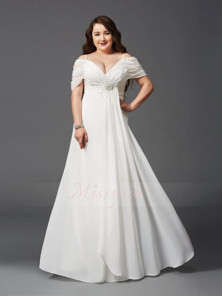 A-Line/Princess Short Sleeves Off-the-Shoulder Long Ivory Dresses