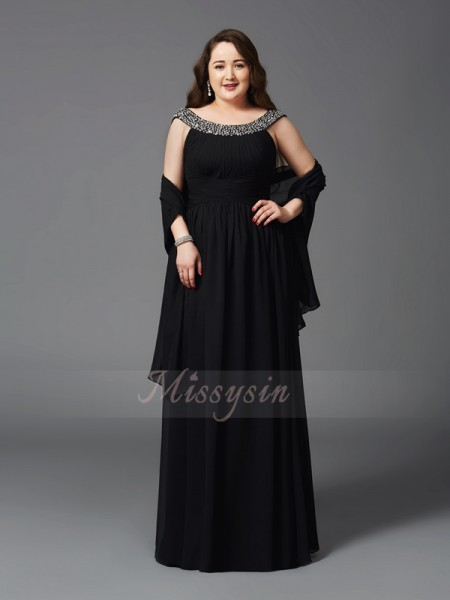 A-Line/Princess Sleeveless Scoop Long Black Dresses