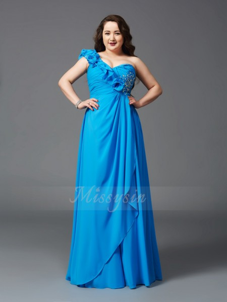 A-Line/Princess Sleeveless One-Shoulder Long Royal Blue Dresses