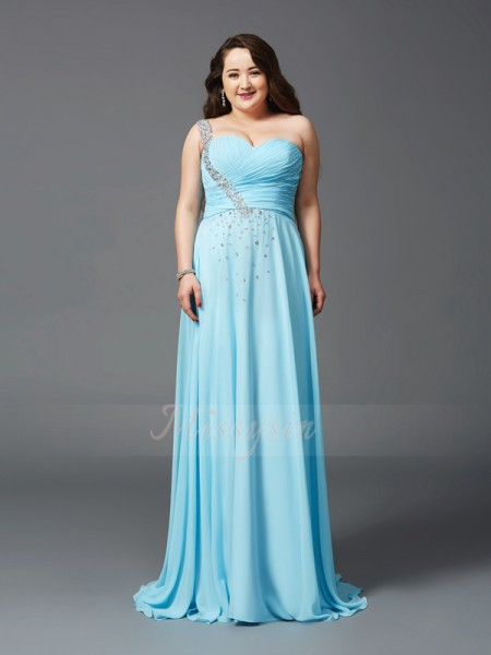 A-Line/Princess Sleeveless One-Shoulder Sweep/Brush Train Light Sky Blue Dresses