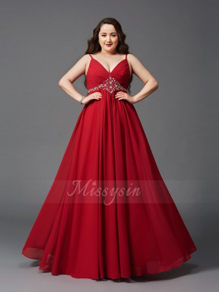 A-Line/Princess Sleeveless Spaghetti Straps Long Red Dresses