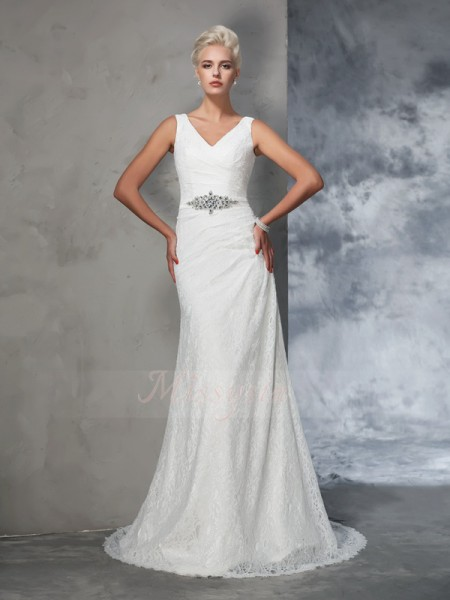 Trumpet/Mermaid Sleeveless V-neck Court Train Ivory Wedding Dresses