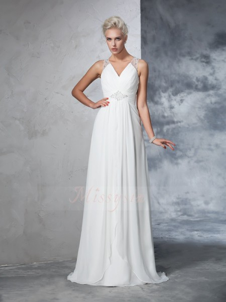 A-Line/Princess Sleeveless V-neck Sweep/Brush Train Ivory Wedding Dresses