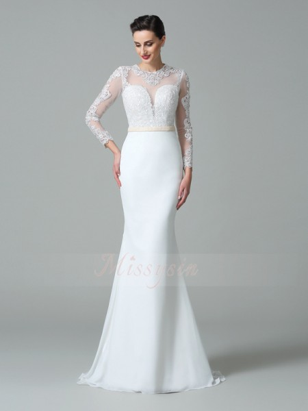 Trumpet/Mermaid Long Sleeves Jewel Sweep/Brush Train White Wedding Dresses