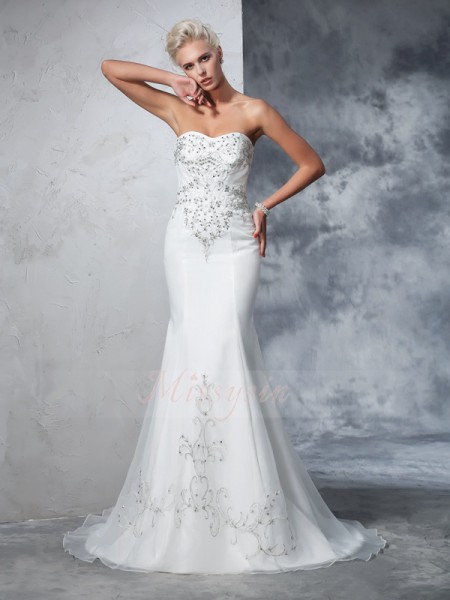 Trumpet/Mermaid Sleeveless Sweetheart Court Train Ivory Wedding Dresses