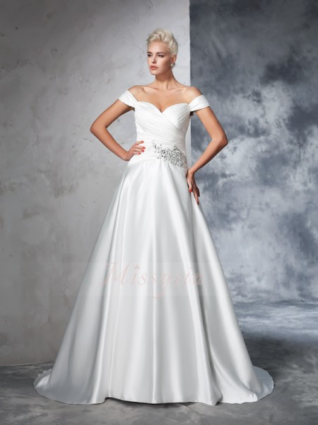 Ball Gown Sleeveless Off-the-Shoulder Chapel Train Ivory Wedding Dresses