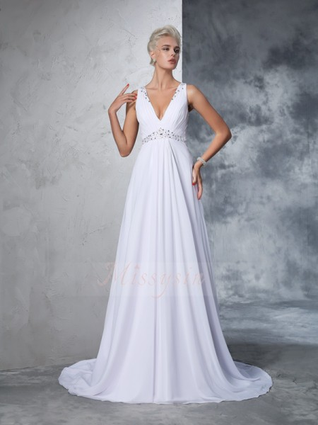 A-Line/Princess Sleeveless V-neck Cathedral Train White Wedding Dresses