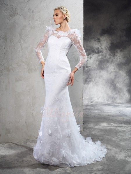 Sheath/Column Long Sleeves Sheer Neck Court Train Ivory Wedding Dresses