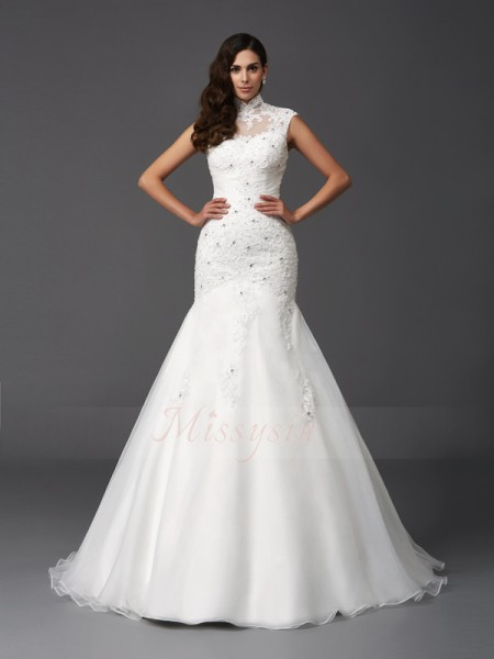 Trumpet/Mermaid Sleeveless High Neck Sweep/Brush Train Ivory Wedding Dresses