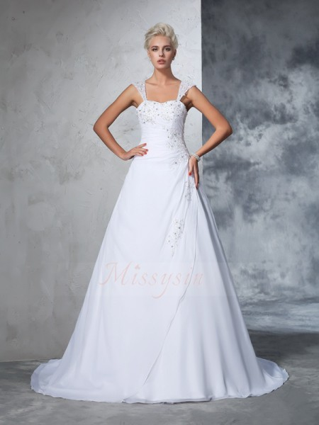 Ball Gown Sleeveless Straps Court Train White Wedding Dresses